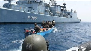 Warships, such as FGS Rheinland-Pfalz, patrol the Somali Coast, but a pure military approach is not sufficient. Photo: BBC