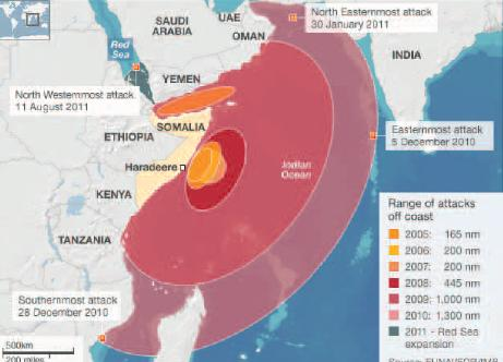 this map underlines the vast area in which piracy is a threat. Source: Maritime Security Review