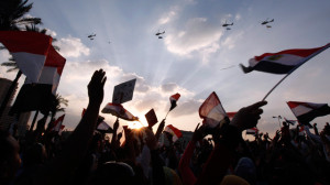 Military helicopters fly above Tahrir Square (Source: Guardian_