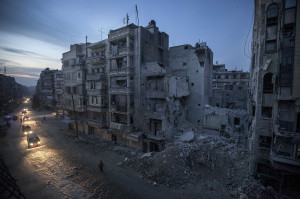Dar Al-Shifa hospital, Aleppo, after airstrikes  targeted the area, killing dozens in Aleppo, Syria. (AP Photo/Narciso