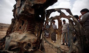 A car destroyed by a drone strike targeting suspected al-Qaida militants in the province of Shabwa, Yemen. Photograph: Khaled Abdullah/Reuters