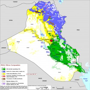 Iraq's ethnic composition (Source Gulf 2000 project, Columbia University, NYC)