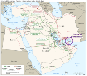 Strait of Hormuz world's most important oil chokepoint; almost 20% of oil traded worldwide (Image source: EIA)