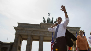 Good old days - President Obama and Chancellor Merkel at the Brandenburg Gate in July 2013. (AP Photo/Evan Vucci)
