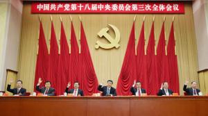 President Xi Jinping (centre) and Premier Li Keqiang (to Xi's left) at the third plenary meeting yesterday with other Politburo Standing Committee members (from left) Zhang Gaoli, Liu Yunshan, Zhang Dejiang, Yu Zhengsheng and Wang Qishan. Photo: Xinhua