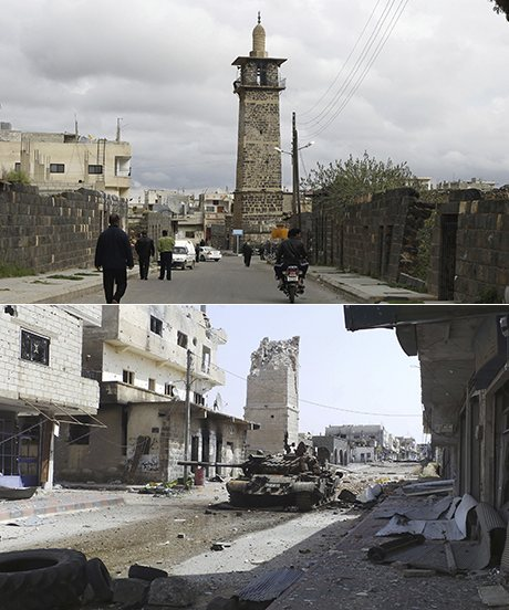 Omari mosque in Deraa. Above in 2011 and below in 2013. (Photographs: Reuters)