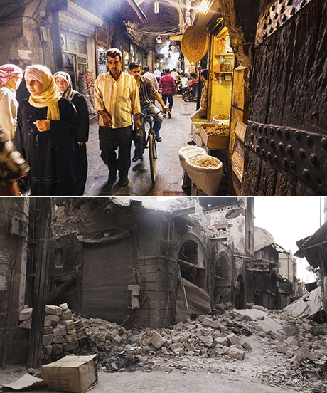 Souq Bab Antakya, Aleppo. Above in 2009 and below after an attack in 2012. (Photographs: Alamy, Reuters)