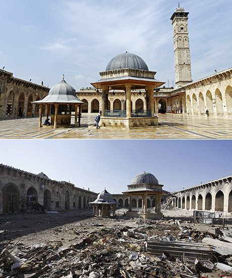 Umayyad Mosque in Aleppo picture in 2012 and 2013 (Photo: Alamy Corbis)