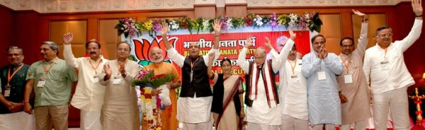 Modi (fifth from the left) and other BJP leaders after the party's National Executive Meet. Modi was named the chairman of Central Election Campaign Committee during this meet. (Image: Wikimedia)
